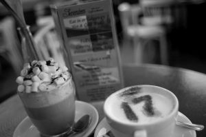 Picure of coffes with 17 written on one