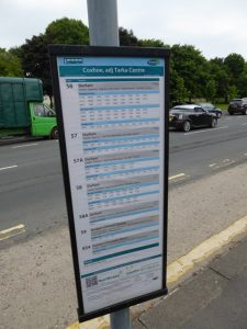 PHOTOGRAPH OF A BUS TIMETABLE AT A BUS STOP