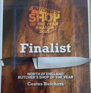 Photo with text showing Coates as a finalist in the Butchers' shop of the Year, North of England