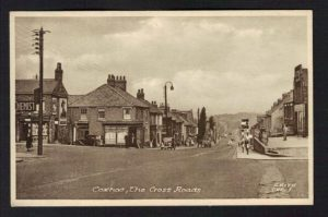 Historical photograph showing Coxhoe crossroads