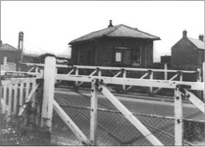 Historical photograph showing Coxhoe Clarence railway crossing
