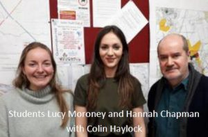 Photograph of planning students helping out the Parish council featuring the wording Students Lucy Moroney and Hannah Chapman with Colin Haylock