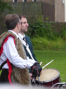 Photograph of drummer talking