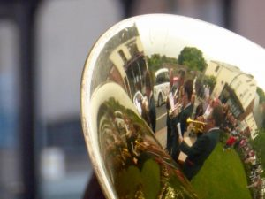 Photograph of band reflections in french horn