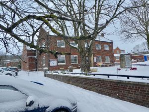 Photograph of Coxhoe Village Hall in the snow