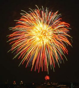 firework against dark sky