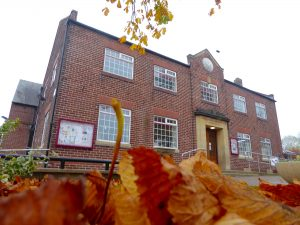 Coxhoe Village Hall with autumn leaves