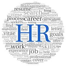 Decorative Photograph with words relating to HR such as job, work, career goals