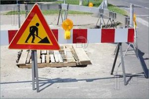Image of some traffic signs for roadworks