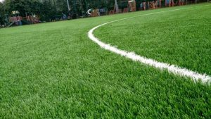 Close up of the all weather pitch
