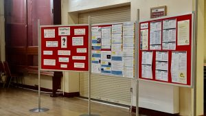 Photograph showing dispaly boards at consultation event