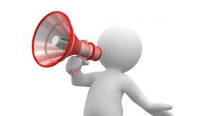 Photograph Shout out clip art showing cartoon man with megaphone