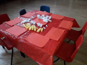 Photograph of table used at the playgroup