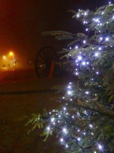 Photograph of Christmas tree with lights on village green