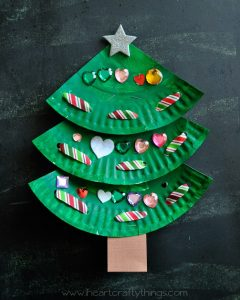 Picture of Christmas Tree made from paper plates and candies