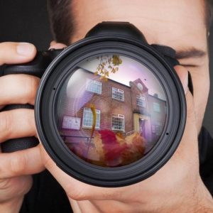 village hall reflected on camera lens February 2020