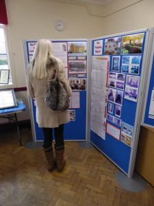 Photograph of girl looking at display boards at an event provided for by the Parish council