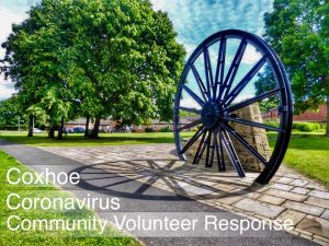 Image of Pitwheel with the words Coxhoe Coronavirus Community Volunteer Response in white letters