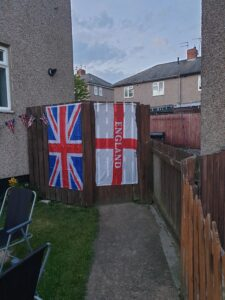 Two flags the night before VE day