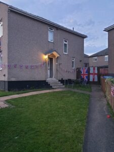 flags in low light ready for Ve Day celebtations