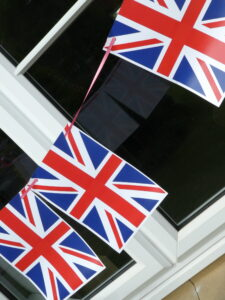 Lots more bunting outside window on angle