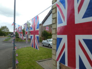 Union flags hanging in garden