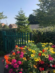 flowers outside Quarrington Hill Community Centre