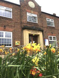 daffodils outside Coxhoe Village Hall
