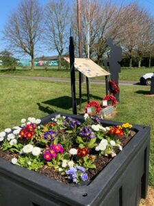 Tommies and flowers on Quarrington Hill village green